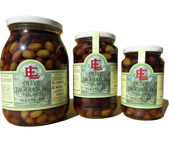 Vaso di vetro di Olive Taggiasche in Salamoia