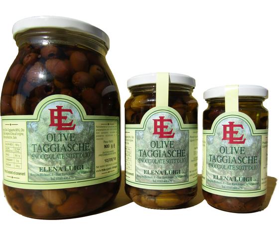 Vaso di Olive Taggiasche snocciolate in salamoia