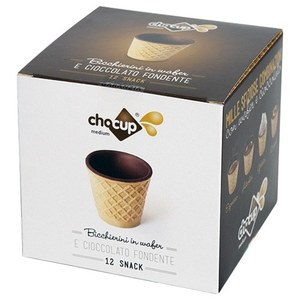 12 BICCHIERINI MEDIUM ( 60 cl. ) IN WAFER E CIOCCOLATO FONDENTE