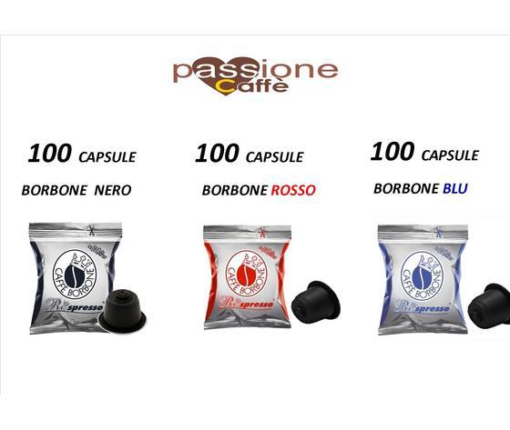 300 capsule compatiibli nespresso BORBONE ( 100 borbone nero  - 100 rosso - 100 blu )