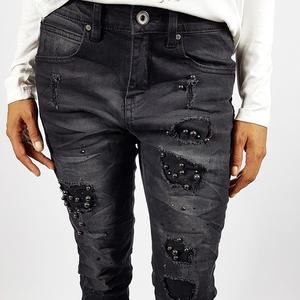 Jeans nero strappi perle Nero