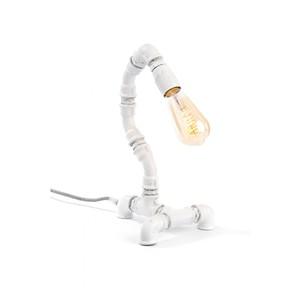 LAMPADA VINTAGE DA TAVOLO con Tubi Idraulici in ghisa (effetto arrugginito) SNAKE BIANCA - CA921 - AMARCORDS