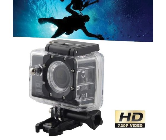 Action camera HD 1080p-720p con custodia impermeabile waterproof fino a 30 mt., microfono e 10 accessori