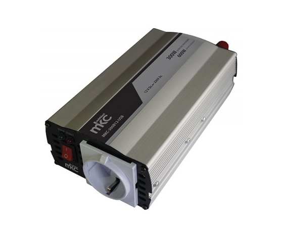 Inverter 300W Soft Start uscita sinosoidale modificata 12VDC/220VCA MKC Power MKC-300B12-USB