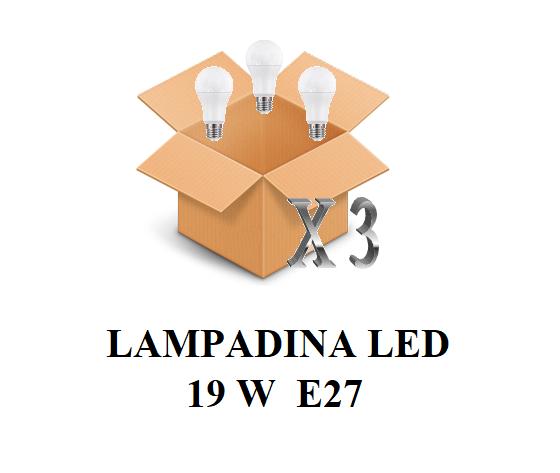 CONFEZIONE 3 PEZZI LAMPADINA LED ATTACCO E27 20W DI CONSUMO RESA 150W FORMA GOCCIA OPALE