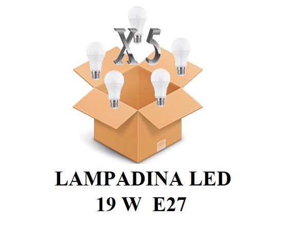 CONFEZIONE 5 PEZZI LAMPADINA LED ATTACCO E27 20W DI CONSUMO RESA 150W FORMA GOCCIA OPALE