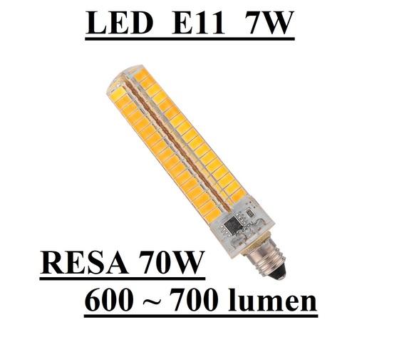 LAMPADINA LED ATTACCO E11 7W DI CONSUMO RESA 70W IN SILICONE TUBOLARE