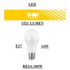 Eld1015x lampadina led attacco e27 14w di consumo resa 100w forma goccia opale dettaglio scritte