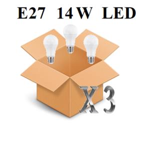 CONFEZIONE 3 PEZZI LAMPADINA LED ATTACCO E27 14W DI CONSUMO RESA 100W FORMA GOCCIA OPALE