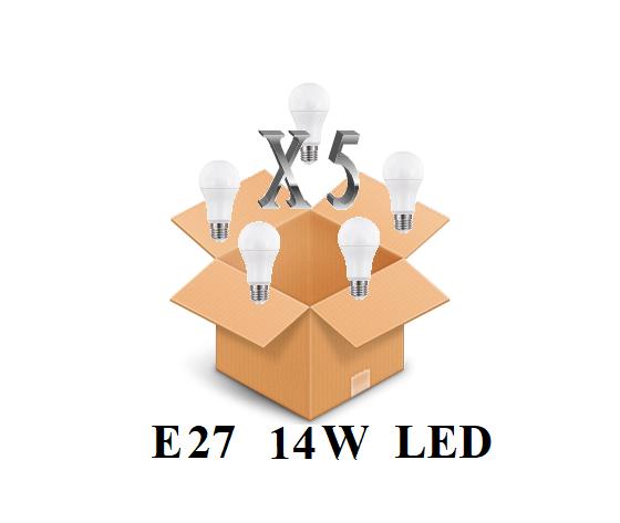 CONFEZIONE 5 PEZZI LAMPADINA LED ATTACCO E27 14W DI CONSUMO RESA 100W FORMA GOCCIA OPALE