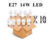 Confezione 10 pezzi lampadina led attacco e27 14w di consumo resa 100w forma goccia opale