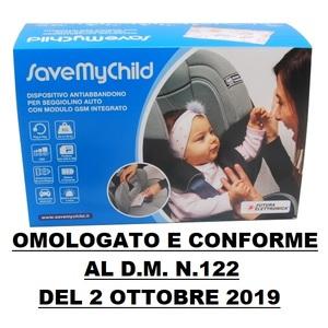 SAVE MY CHILD - DISPOSITIVO ANTI ABBANDONO PER SEGGIOLINO AUTO OMOLOGATO CONFORME AL D.M. N.122 DEL 2 OTTOBRE 2019