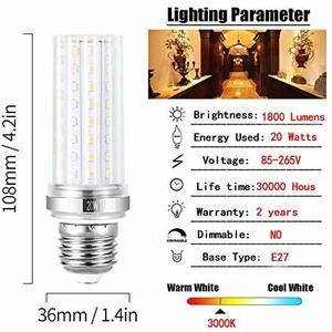 LAMPADINA E27 LED TUBOLARE 1800 LUMEN CONSUMO 20W (EQUIVALENTE CIRCA 130W TRADIZIONALI)