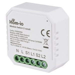 Modulo Dual Switch da incasso 10A 2 Canali WiFi DOMOTICA - HOM-iO