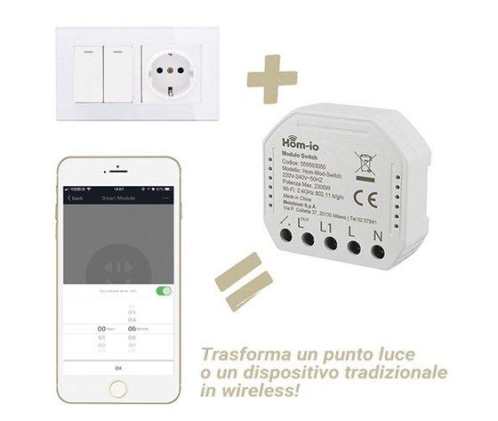 Modulo Switch da incasso 10A 1 Canale WiFi DOMOTICA - HOM-IO