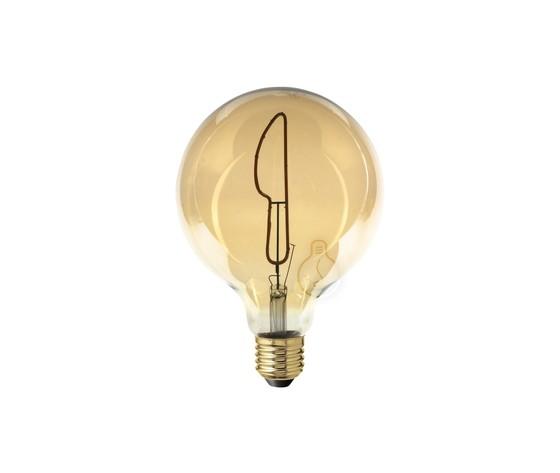 Lampadina filamento LED Masterchef a forma di coltello per Ristorante, Cucina, Negozi Gastonomia, Ristorazione 4W E27 Globo G125 vetro ambrato