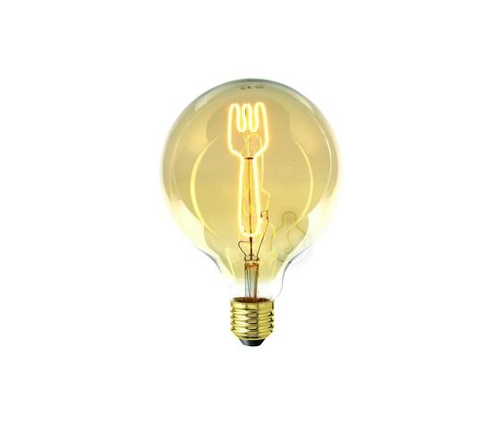 Lampadina filamento LED Masterchef a forma di forchetta per Ristorante, Cucina, Negozi Gastonomia, Ristorazione 4W E27 Globo G125 vetro ambrato