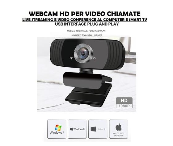 WEBCAM CON CAVO USB UTILE PER LEZIONI ONLINE E SMART WORKING PLUG AND PLAY FULL HD 1080P: SUBITO PRONTA ALL'USO NO INSTALLAZIONE NO DRIVER