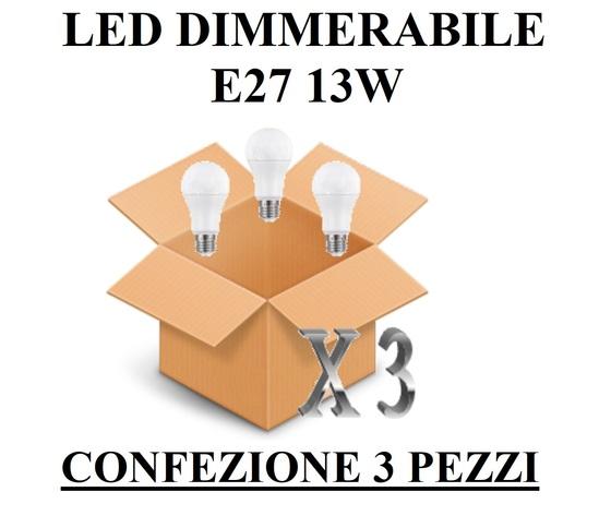 LAMPADINA E27 GOCCIA OPALE DIMMERABILE 13W DI CONSUMO RESA 100 W CONFEZIONE 3 PEZZI