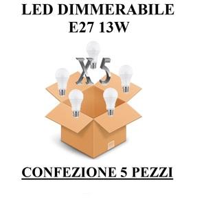LAMPADINA E27 GOCCIA OPALE DIMMERABILE 13W DI CONSUMO RESA 100 W CONFEZIONE 5 PEZZI