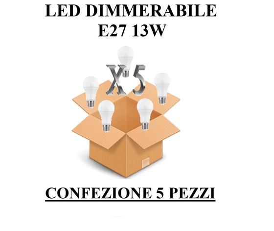 LAMPADINA LED E27 GOCCIA OPALE DIMMERABILE 13W DI CONSUMO RESA 100 W CONFEZIONE 5 PEZZI