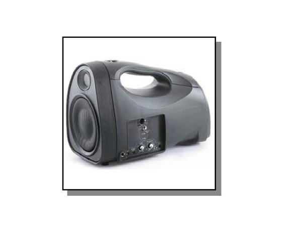AMPLIFICATORE PORTATILE 43W CON RICEVITORE E TRASMETTITORE RADIOMICROFONICO UHF, BATTERIA, CARICABATTERIE, BORSA E TRACOLLA EP300