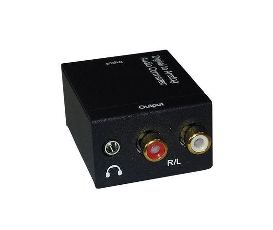 CONVERTITORE AUDIO DIGITALE DA SEGNALE DIGITALE OTTICO AD ANALOGICO RCA L + R CON INGRESSO PER LE CUFFIE STEREO 3,5mm