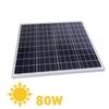 Pannello solare policristallino 12v 80w telaio in alluminio e protezione in vetro temprato