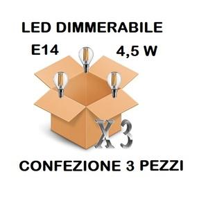 LAMPADINA LED E14 SFERA TRASPARENTE DIMMERABILE 4,5W DI CONSUMO RESA 40 W LUCE CALDA CONFEZIONE 3 PEZZI
