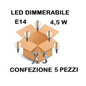 LAMPADINA LED E14 SFERA TRASPARENTE DIMMERABILE 4,5W DI CONSUMO RESA 40 W LUCE CALDA CONFEZIONE 5 PEZZI
