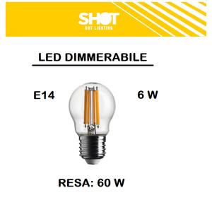 LAMPADINA LED E27 SFERA TRASPARENTE DIMMERABILE 6W DI CONSUMO RESA 60 W