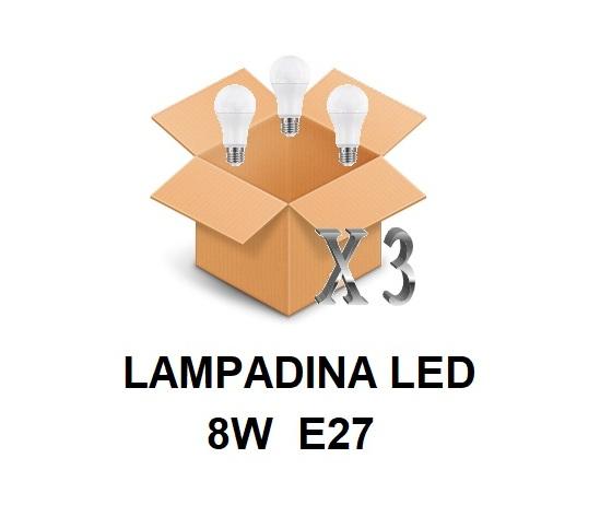 LAMPADINA LED ATTACCO E27 8 W DI CONSUMO RESA 60 W FORMA GOCCIA OPALE A60 TENSIONE 220 / 240 V CONFEZIONE CONVENIENZA 3 PEZZI