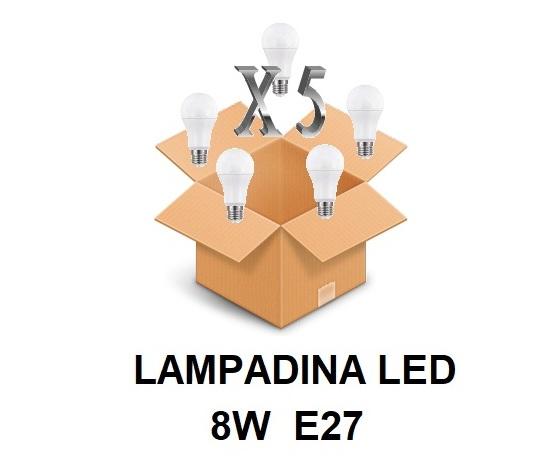 LAMPADINA LED ATTACCO E27 8 W DI CONSUMO RESA 60 W FORMA GOCCIA OPALE A60 TENSIONE 220 / 240 V CONFEZIONE CONVENIENZA 5 PEZZI