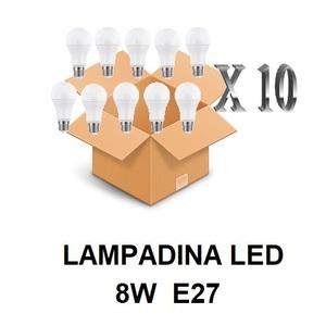 LAMPADINA LED ATTACCO E27 8 W DI CONSUMO RESA 60 W FORMA GOCCIA OPALE A60 TENSIONE 220 / 240 V CONFEZIONE CONVENIENZA 10 PEZZI