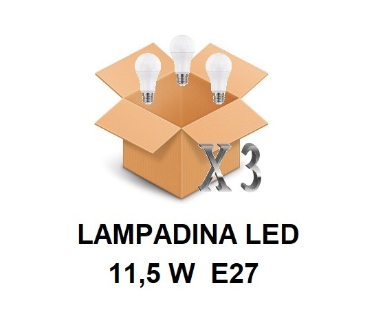 LAMPADINA LED ATTACCO E27 11,5 W DI CONSUMO RESA 75 W FORMA GOCCIA OPALE A60 TENSIONE 220 / 240 V CONFEZIONE CONVENIENZA 3 PEZZI