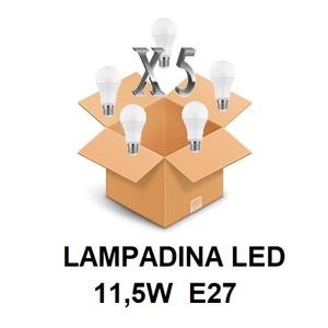 LAMPADINA LED ATTACCO E27 11,5 W DI CONSUMO RESA 75 W FORMA GOCCIA OPALE A60 TENSIONE 220 / 240 V CONFEZIONE CONVENIENZA 5 PEZZI