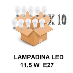LAMPADINA LED ATTACCO E27 11,5 W DI CONSUMO RESA 75 W FORMA GOCCIA OPALE A60 TENSIONE 220 / 240 V CONFEZIONE CONVENIENZA 10 PEZZI