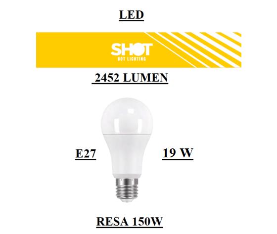 LAMPADINA LED ATTACCO E27 14,5 W DI CONSUMO RESA 121 W FORMA GOCCIA OPALE A60 TENSIONE 220 / 240 V