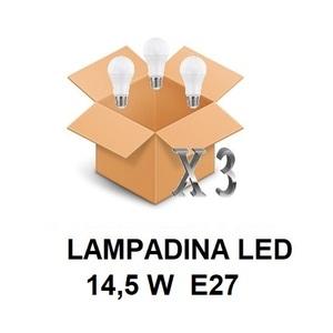 LAMPADINA LED ATTACCO E27 14,5 W DI CONSUMO RESA 121 W FORMA GOCCIA OPALE A60 TENSIONE 220 / 240 V CONFEZIONE CONVENIENZA 3 PEZZI