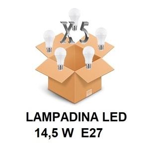 LAMPADINA LED ATTACCO E27 14,5 W DI CONSUMO RESA 121 W FORMA GOCCIA OPALE A60 TENSIONE 220 / 240 V CONFEZIONE CONVENIENZA 5 PEZZI