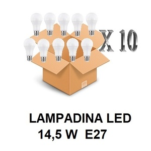 LAMPADINA LED ATTACCO E27 14,5 W DI CONSUMO RESA 121 W FORMA GOCCIA OPALE A60 TENSIONE 220 / 240 V CONFEZIONE CONVENIENZA 10 PEZZI