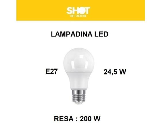LAMPADINA LED ATTACCO E27 24,5 W DI CONSUMO RESA 200 W FORMA GOCCIA OPALE A80 TENSIONE 220 / 240 V