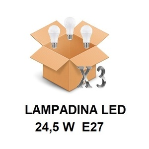 LAMPADINA LED ATTACCO E27 24,5 W DI CONSUMO RESA 200 W FORMA GOCCIA OPALE A80 TENSIONE 220 / 240 V CONFEZIONE CONVENIENZA 3 PEZZI