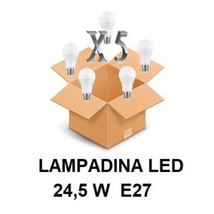 LAMPADINA LED ATTACCO E27 24,5 W DI CONSUMO RESA 200 W FORMA GOCCIA OPALE A80 TENSIONE 220 / 240 V CONFEZIONE CONVENIENZA 5 PEZZI