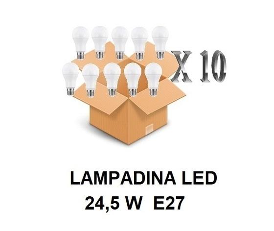 LAMPADINA LED ATTACCO E27 24,5 W DI CONSUMO RESA 200 W FORMA GOCCIA OPALE A80 TENSIONE 220 / 240 V CONFEZIONE CONVENIENZA 10 PEZZI