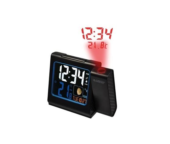 Orologio sveglia radiocontrollata DCF con proiezione orario e temperatura interna - USB