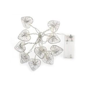 Ghirlanda luminosa a LED con Cuori argento
