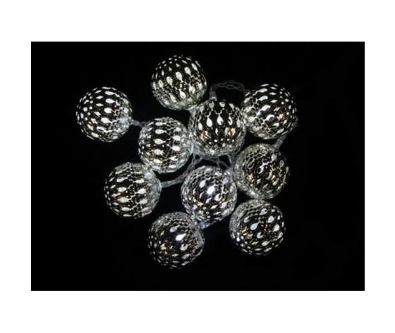 Ghirlanda luminosa a LED con palline metalliche 4,5cm