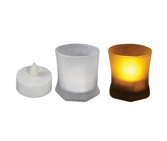 CANDELA A LED IN BICCHIERE SATINATO