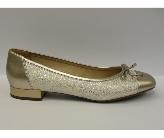 Ballerine donna Geox elegante tacchi bassi off white/ lt gold